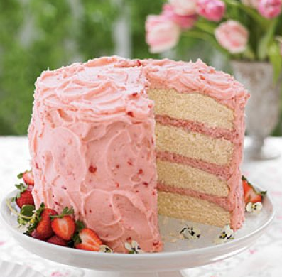 A Wonderful Strawberry Cake With Layers Of Mousse