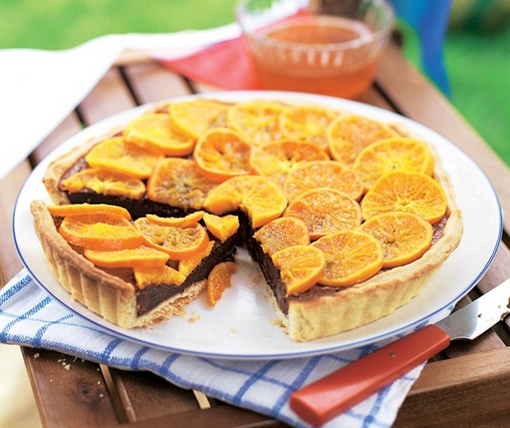 Wow! What An Amazing Fudge Recipe Is This Chocolate Fudge Tart With Sliced Clementine