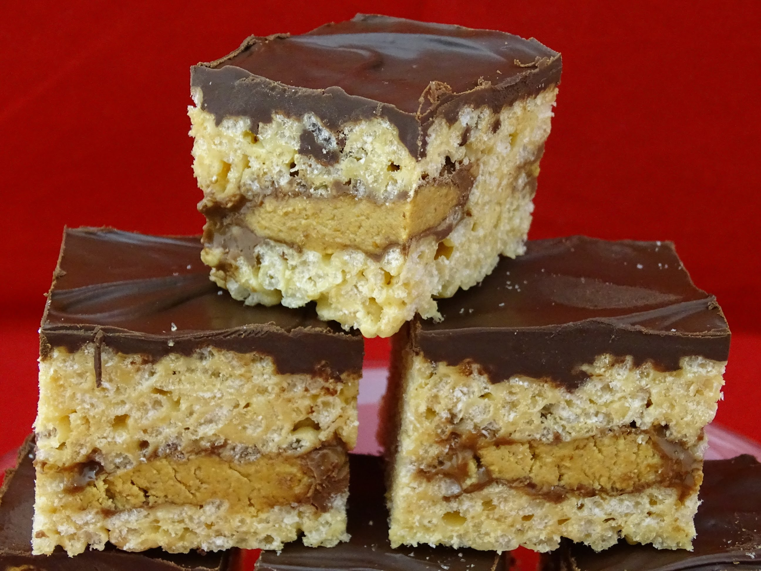 What Amazing Peanut Butter Rice Crispie Treats Are These Reese Peanut Butter Cup Stuffed Bars