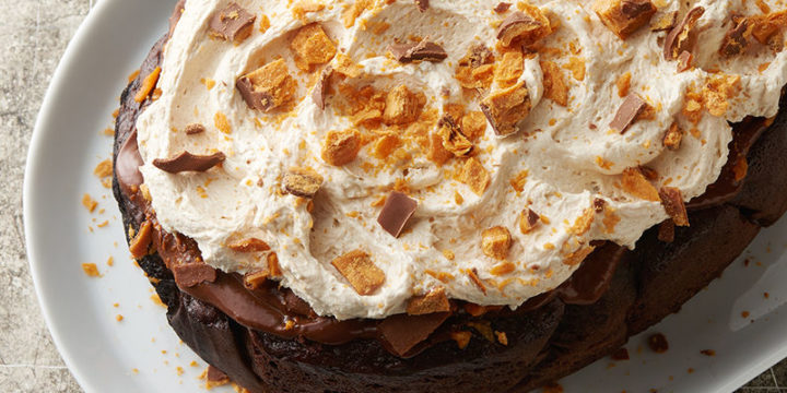 Butterfinger Chocolate Poke Cake