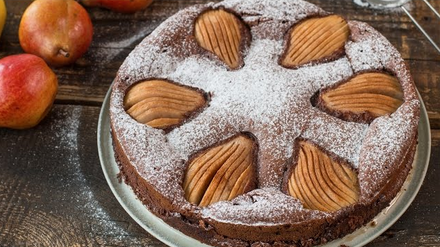 Almond Chocolate Pear Cake