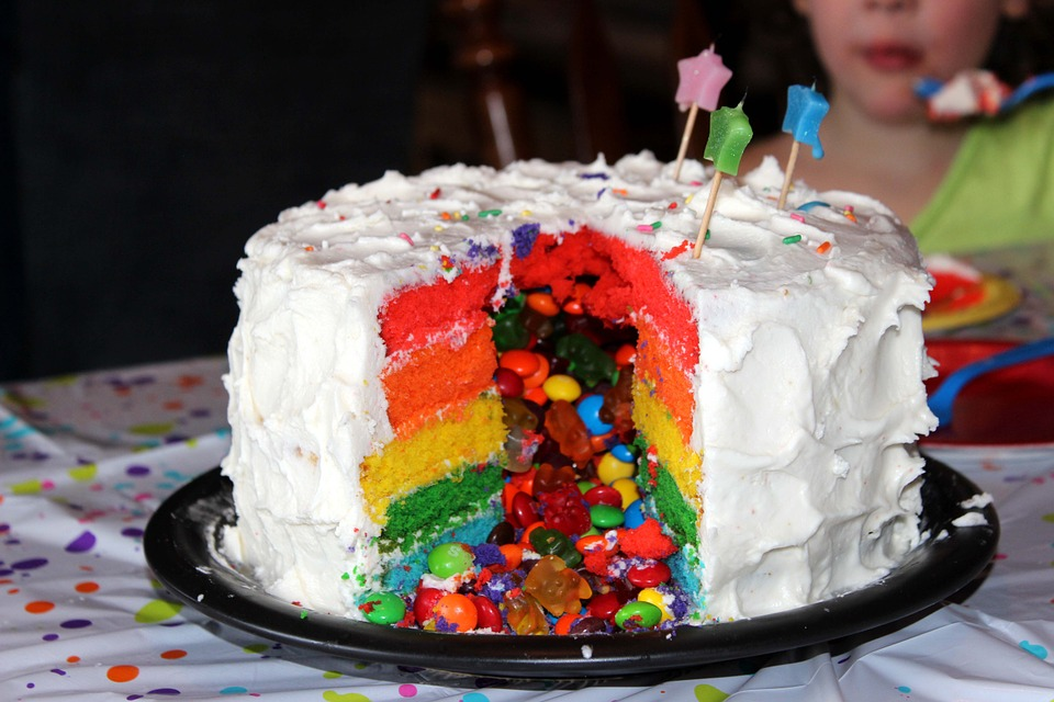 Rainbow Surprise Party Cake Recipe
