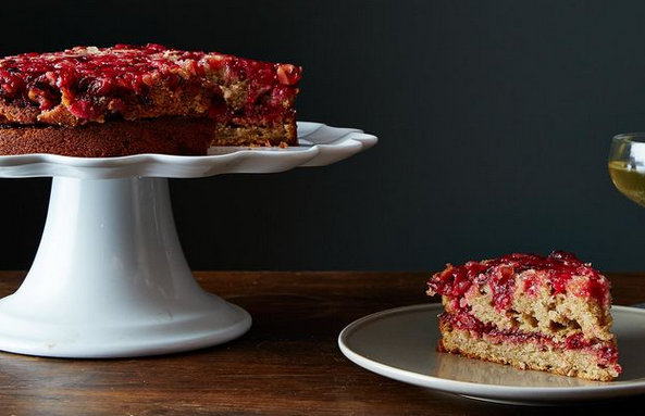 A Wonderful Sponge Cake Recipe For This Cranberry Ginger Upside-Down Cake