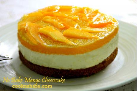 A Wonderful No Bake Mango Cheesecake