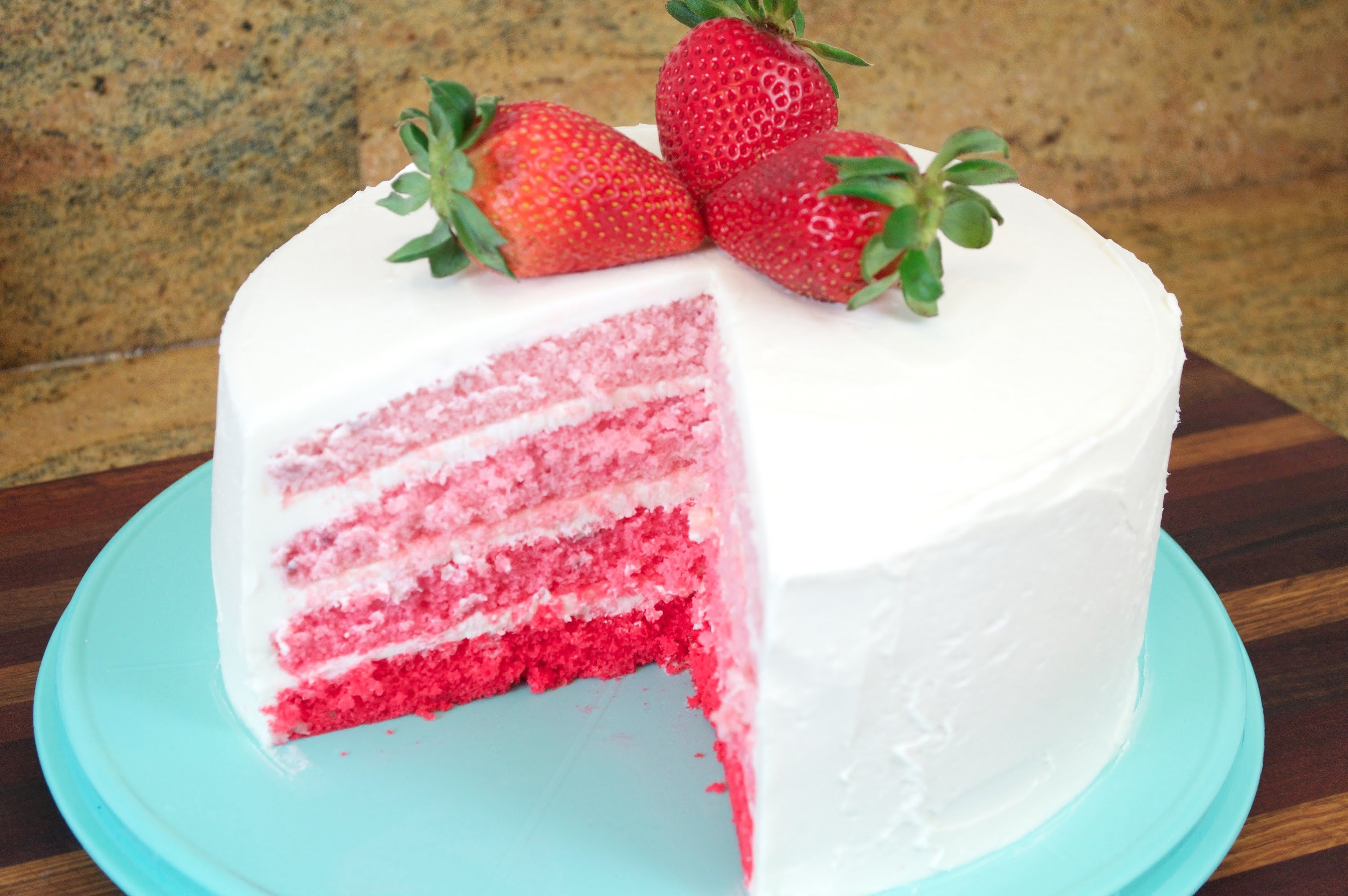 Cream Strawberry Swirl Cake Recipe