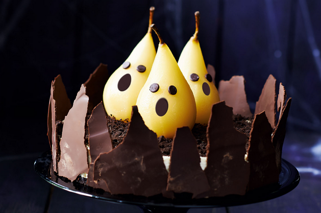 A Rich Chocolate Cheesecake With Ghostly Pears Great For That Halloween Dinner Party