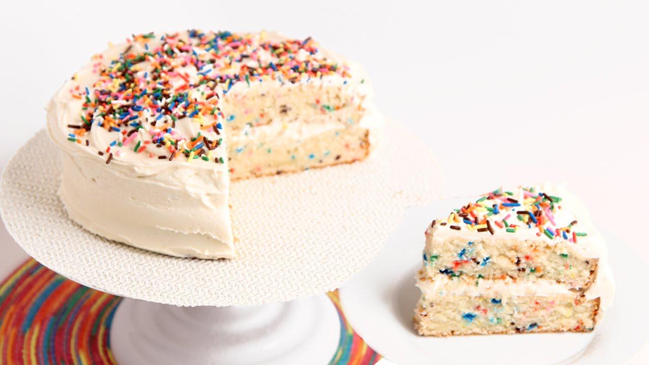 A Wonderful White Cake Recipe For This Confetti Birthday Cake