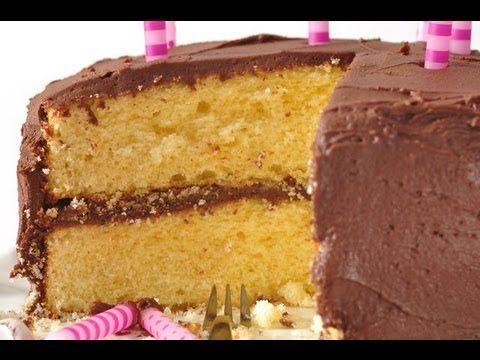 A Yellow Cake Recipe With Chocolate Frosting