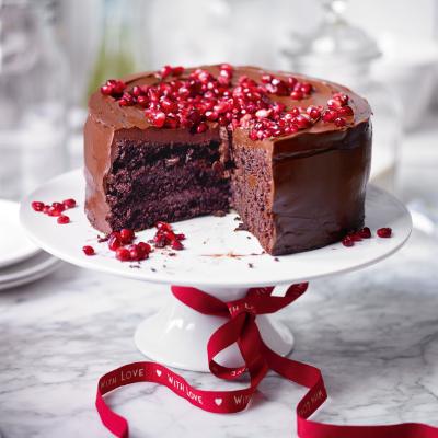 An Indulgent Chocolate And Pomegranate Layer Cake