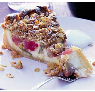 Rhubarb Pie With A Creamy Custard Filling Topped With Butter Crumble