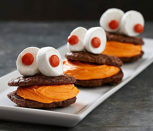 Grinning Monster Cookie Sandwiches One Of Those Fun Halloween Cookie Recipes