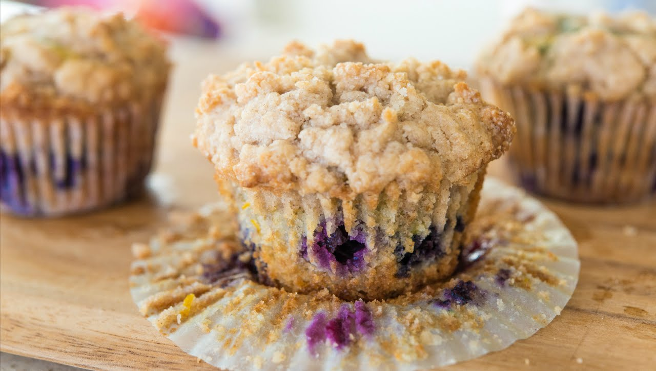 Delicious Blueberry Muffins With A Crumb Topping