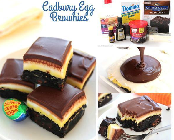 Cadbury Egg Brownies.