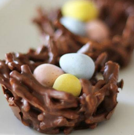 No Bake Chocolate Egg Nest Cookies