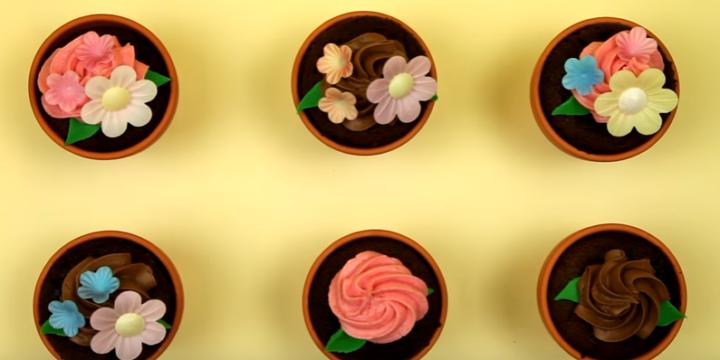 Chocolate Flower Pot Cupcakes