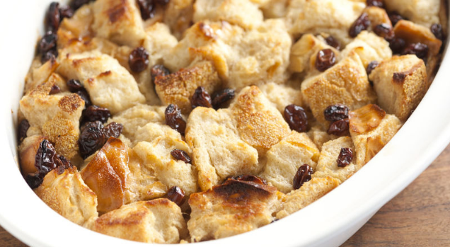 Old Fashioned Bread Pudding Made With Biscuits