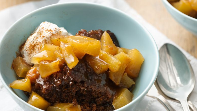 Slow Cooker Apple Gingerbread Pudding Cake
