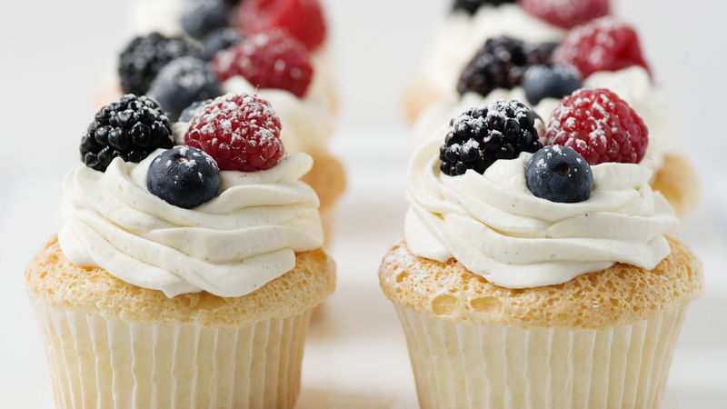 Angel Food Cupcakes With Whipped Cream & Berries